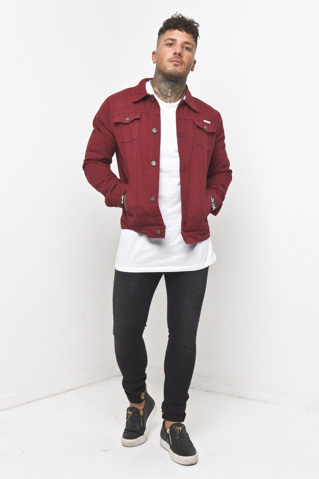 Norton Denim Jacket in Red - Liquor N Poker  Liquor N Poker