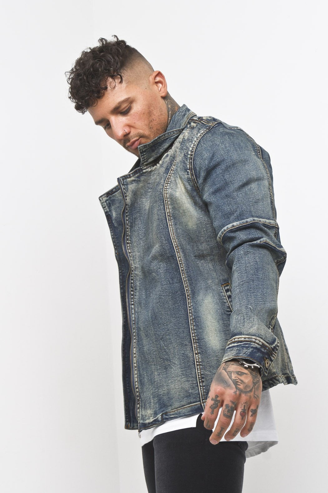 Denim Biker Jacket in Dirty Indigo - Liquor N Poker  Liquor N Poker
