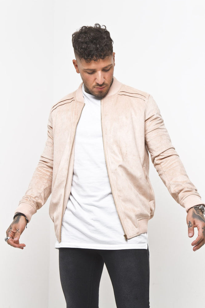 Casey Faux Suede Zip Up Bomber Jacket In Pale Pink