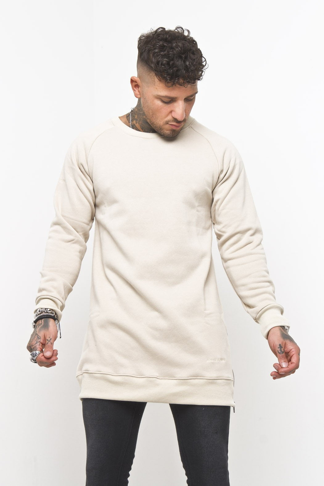 Curved Hem Zip Sweater in Beige - Liquor N Poker  Liquor N Poker