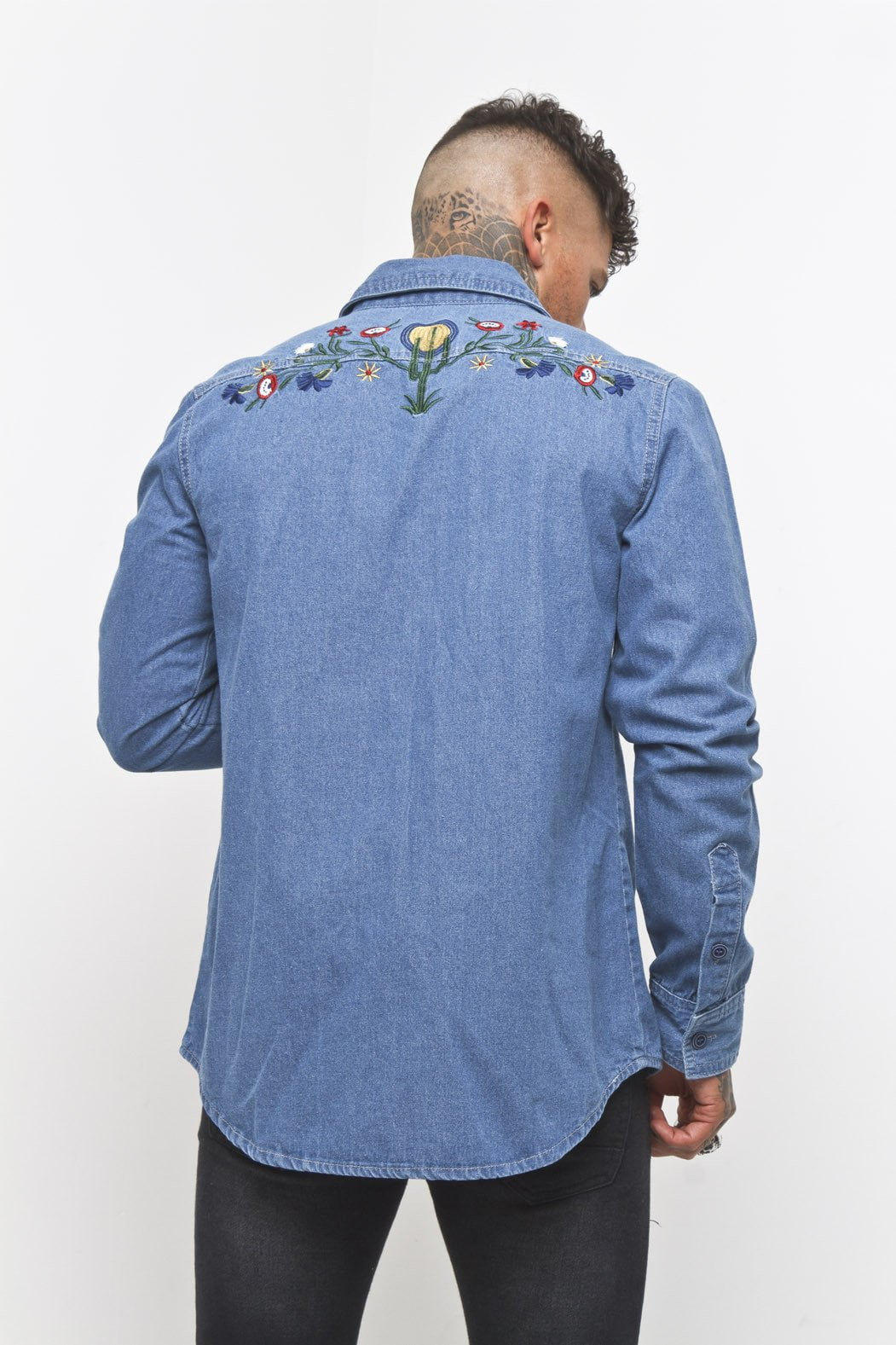 Liquor n Poker - Embroidered Denim Cactus Shirt - Liquor N Poker  Liquor N Poker