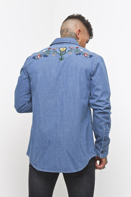 Embroidered Denim Cactus Shirt - Liquor N Poker  Liquor N Poker