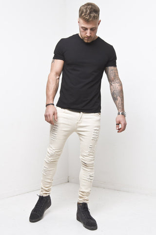 Logan Distressed Skinny Jean With Zipper Knee In Ecru - Liquor N Poker  Liquor N Poker
