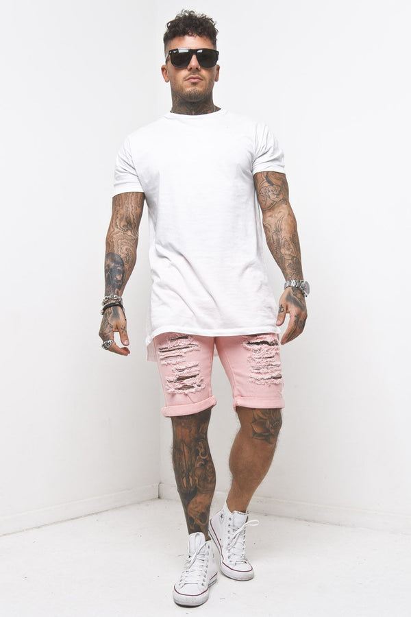 Miami Distressed Pink Shorts With All Over Ripping - Liquor N Poker  Liquor N Poker