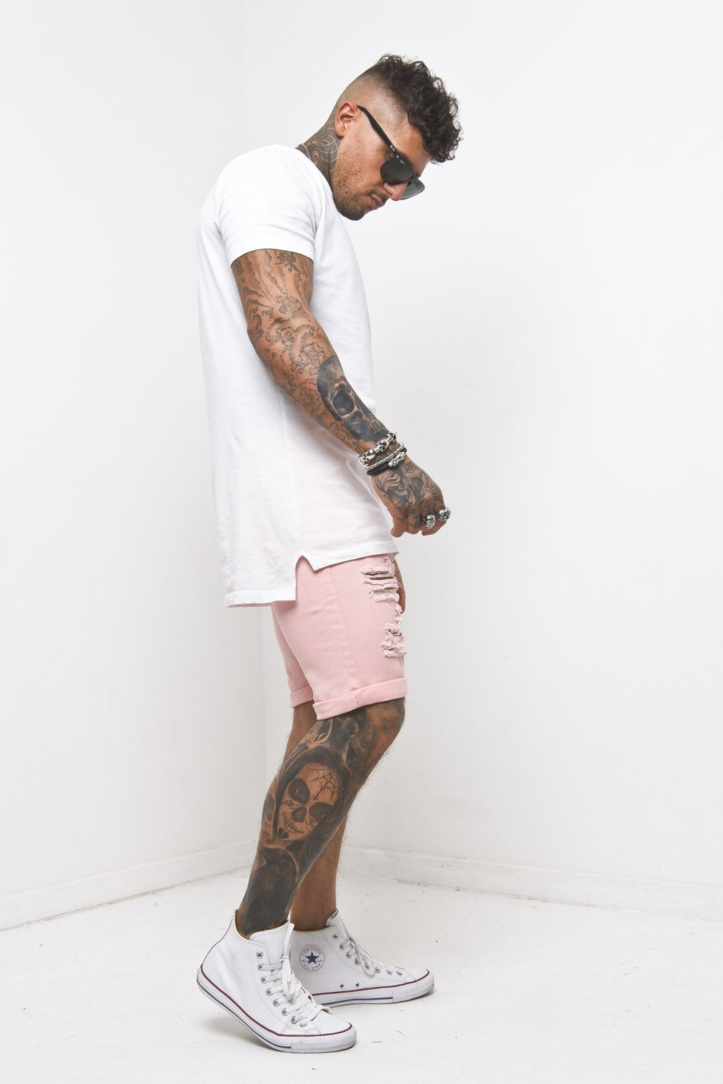 Liquor n Poker - Miami distressed Pink Shorts with all over ripping - Liquor N Poker  Liquor N Poker