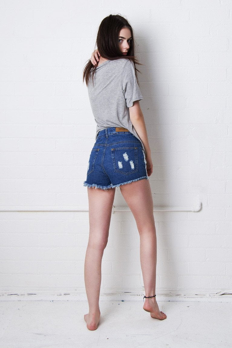 Misty High Waisted Crochet Denim Hotpants - Liquor N Poker  Liquor N Poker