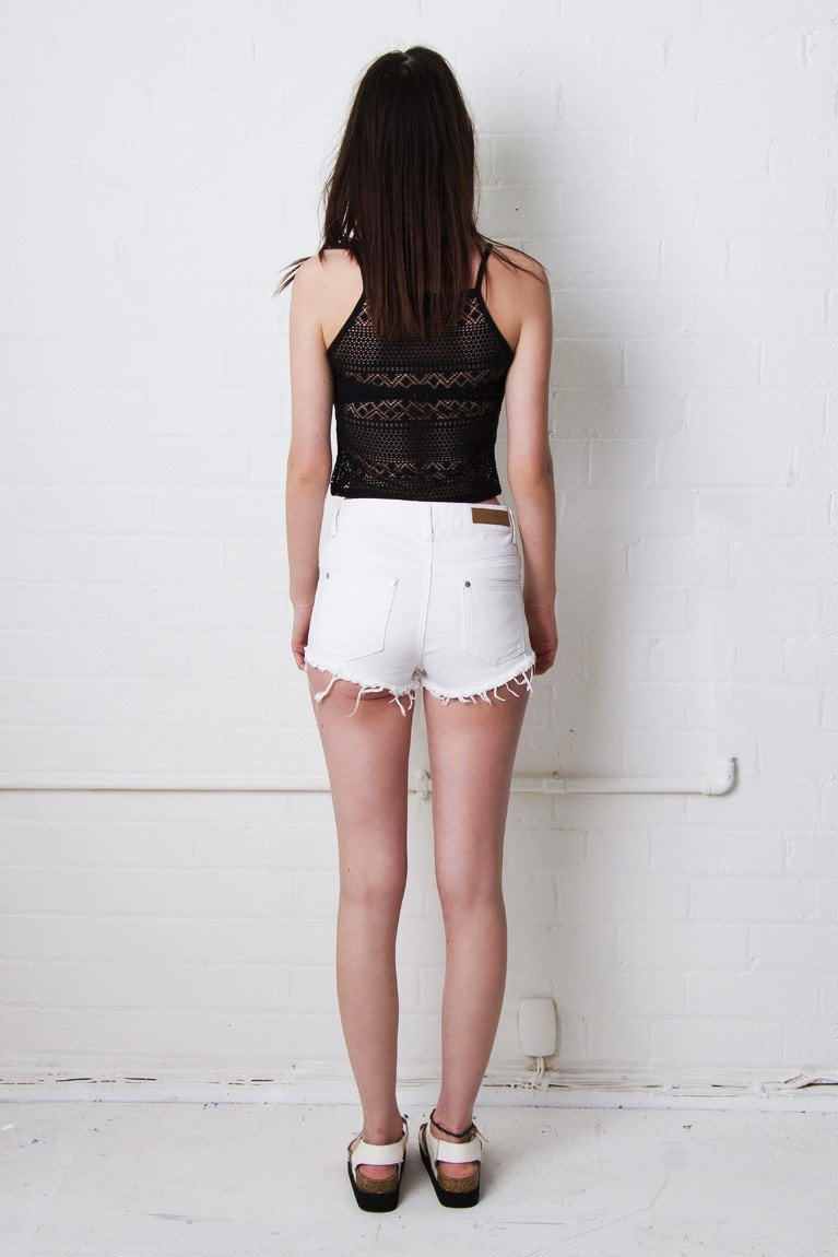 Lenexa White High Waisted Distressed Shorts - Liquor N Poker  Liquor N Poker