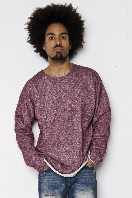 Bakersfield - Raw edge oversized sweat top in burgundy - Liquor N Poker  Liquor N Poker