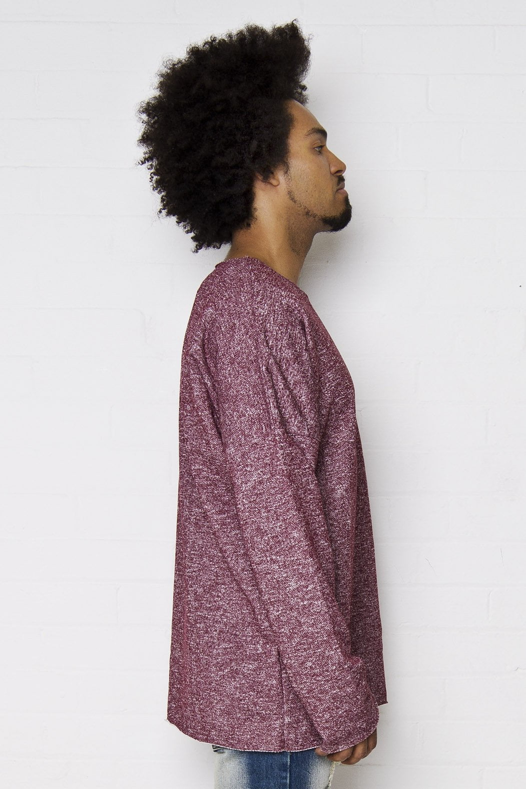 Bakerfield - Raw edge oversized sweat top in burgundy - Liquor N Poker  Liquor N Poker