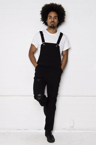 Liquor n Poker - Louisiana Distressed denim dungarees in black - Liquor N Poker  Liquor N Poker