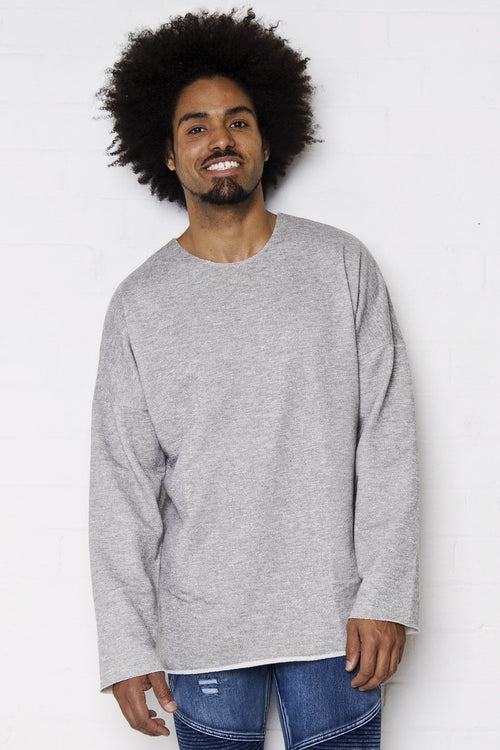 Bakersfield - Raw edge oversized sweat top in light grey - Liquor N Poker  Liquor N Poker