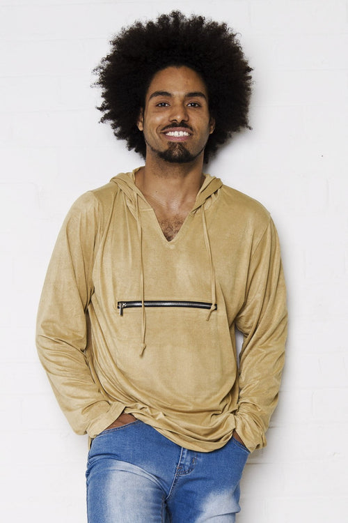 Bakerfield - Tan faux suede hoody with zip front pocket - Liquor N Poker  Liquor N Poker