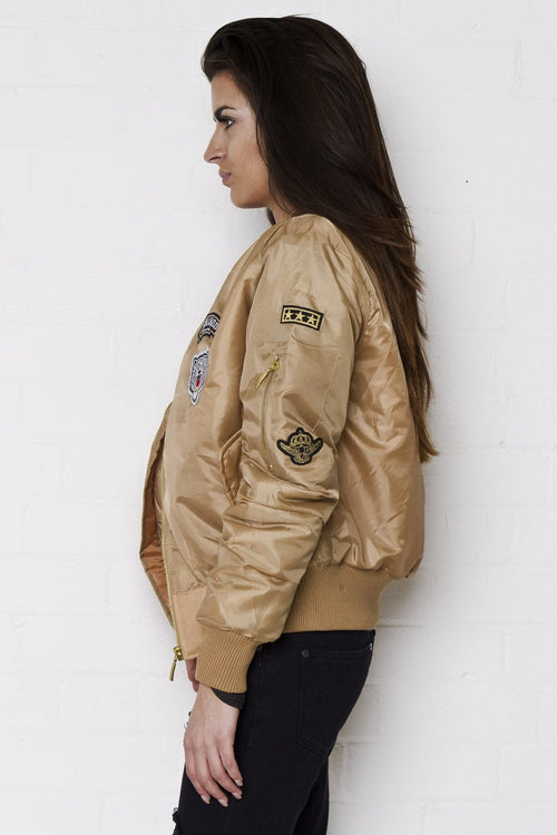 Liquor n Poker - South Beach Padded bomber jacket with badges in beige - Liquor N Poker  Liquor N Poker