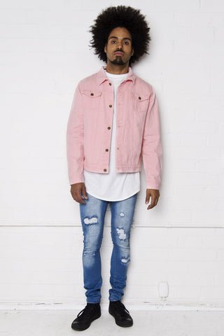 Liquor n Poker - Norton Pink slim fit denim jacket - Liquor N Poker  Liquor N Poker