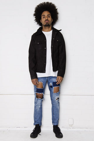 Liquor n Poker - Faro Rip and Repair slim jean with faded patches in vintage stonewash indigo - Liquor N Poker  Liquor N Poker
