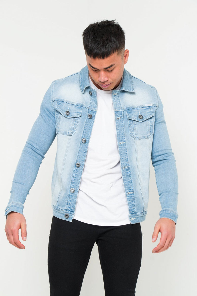 MUSCLE FIT STRETCH DENIM JACKET IN STONEWASH INDIGO