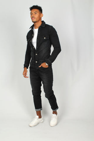 Nashville Black Denim Boilersuit