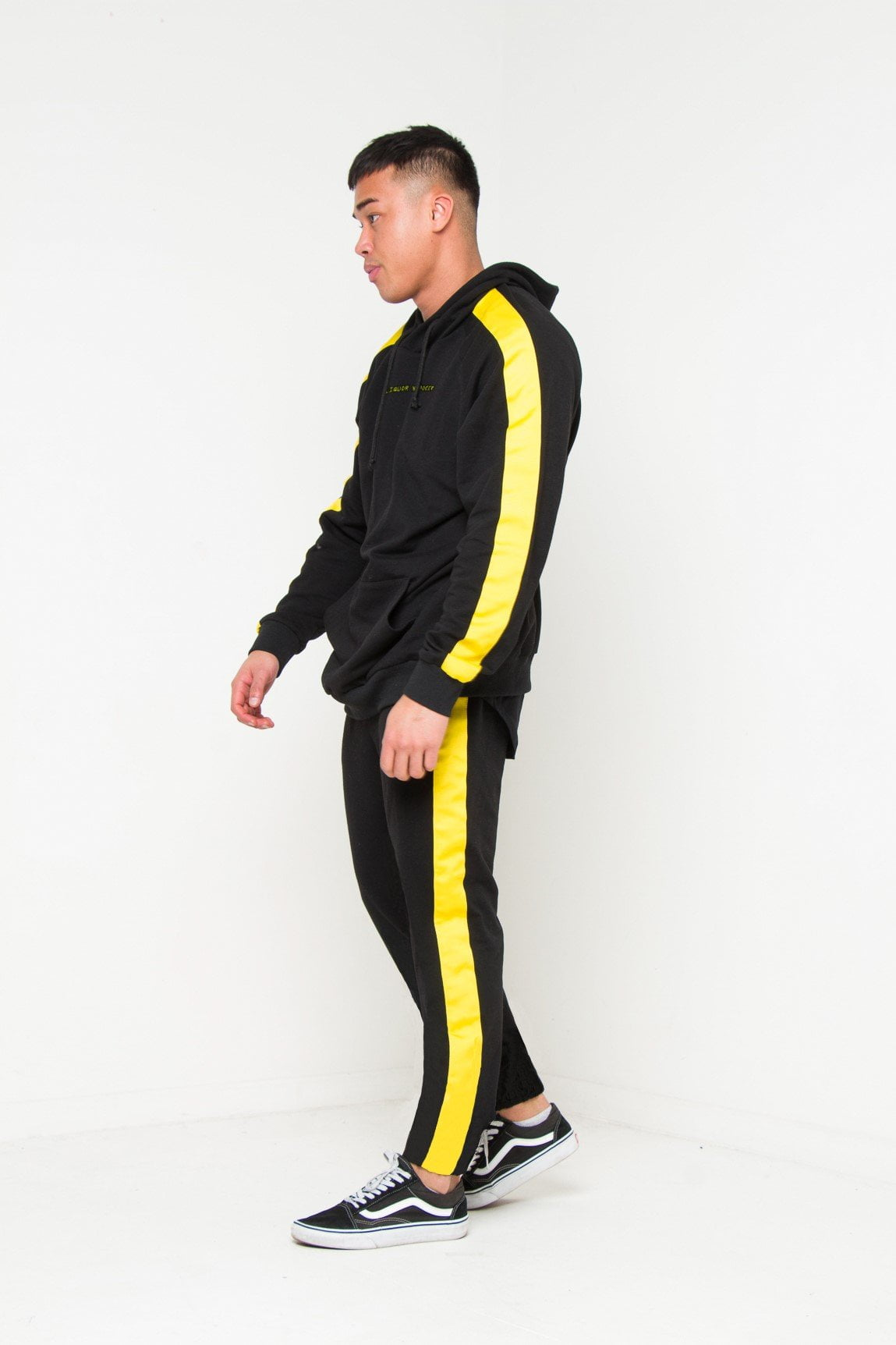 VENICE OVERSIZED BLACK HOODY WITH YELLOW SPORTS STRIPE