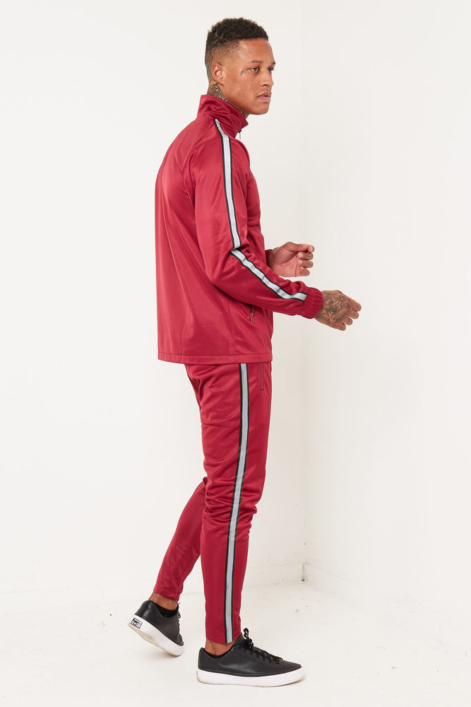 Load image into Gallery viewer, PACER BURGANDY SIDE STRIPE TRACKSUIT - Liquor N Poker  LIQUOR N POKER