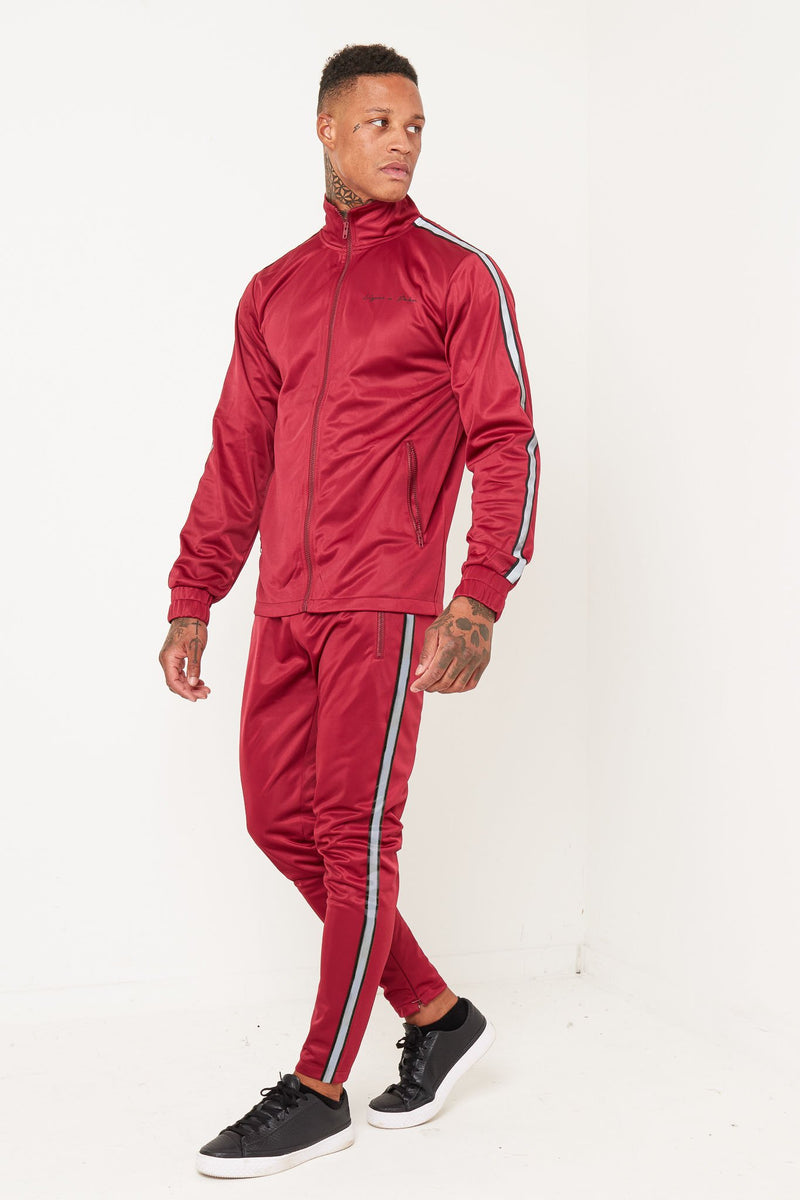 PACER BURGANDY SIDE STRIPE TRACKSUIT