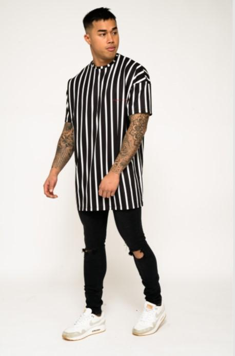 BAYSIDE OVER SIZED STRIPED TEE IN BLACK AND WHITE - Liquor N Poker  Liquor N Poker