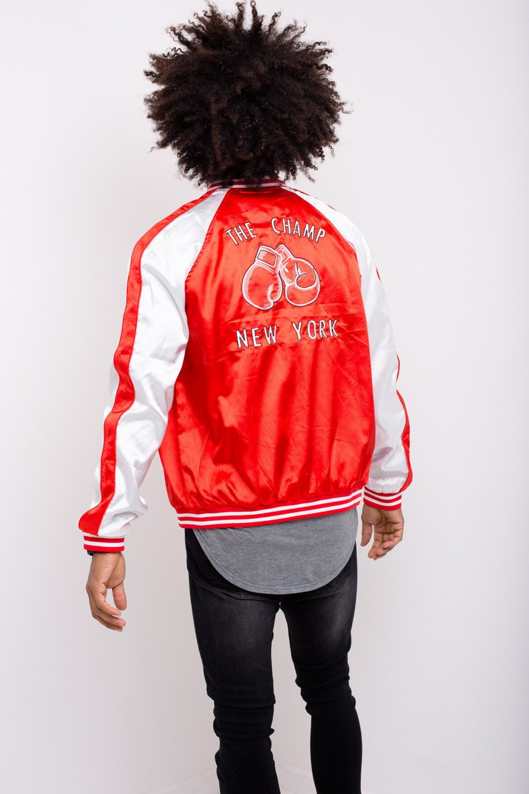 Liquor n Poker - Souvenir Satin Bomber - Boxing Embroidered - Liquor N Poker  Liquor N Poker