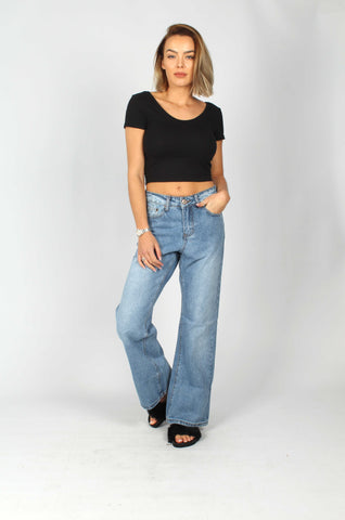 Lax Stonewash Mom Jeans With Ruffle Hems