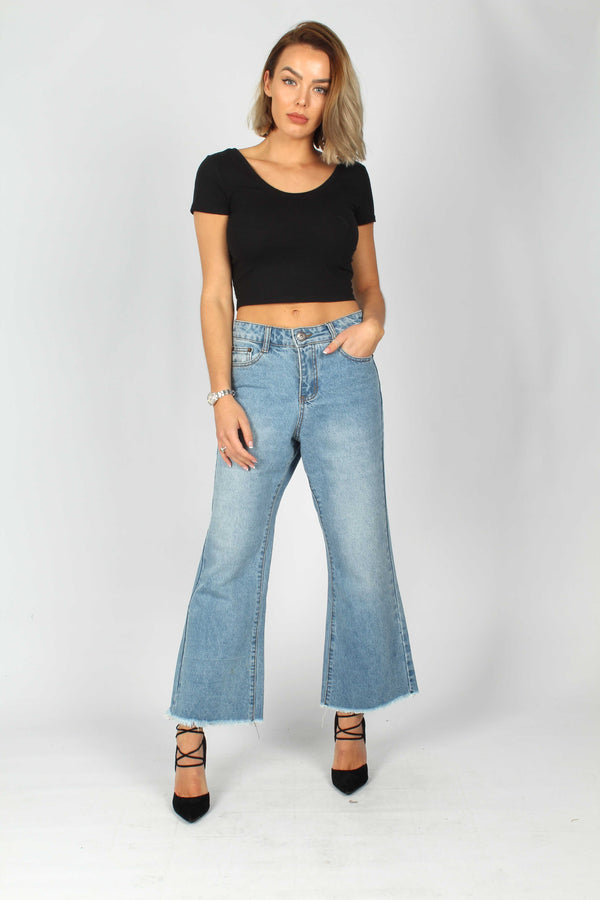 Avril Wide leg Cropped Jean with Raw Hem - Liquor N Poker  Liquor N Poker