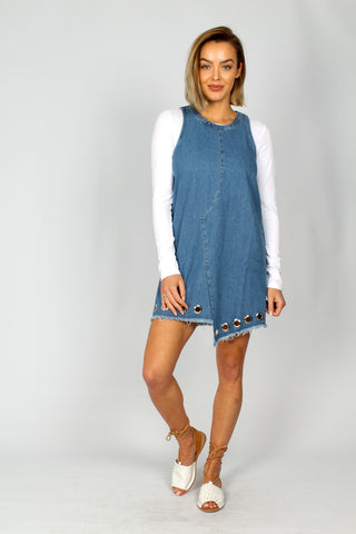 Indiana Denim Dress With Eyelet Detail