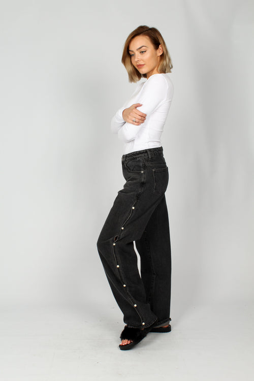 Monki Wide Leg Jean With Split Seam & Pearl Detail - Liquor N Poker  Liquor N Poker