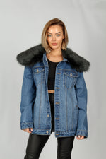 Boyfriend Denim Jacket With Green Fur Collar - Liquor N Poker  LIQUOR N POKER