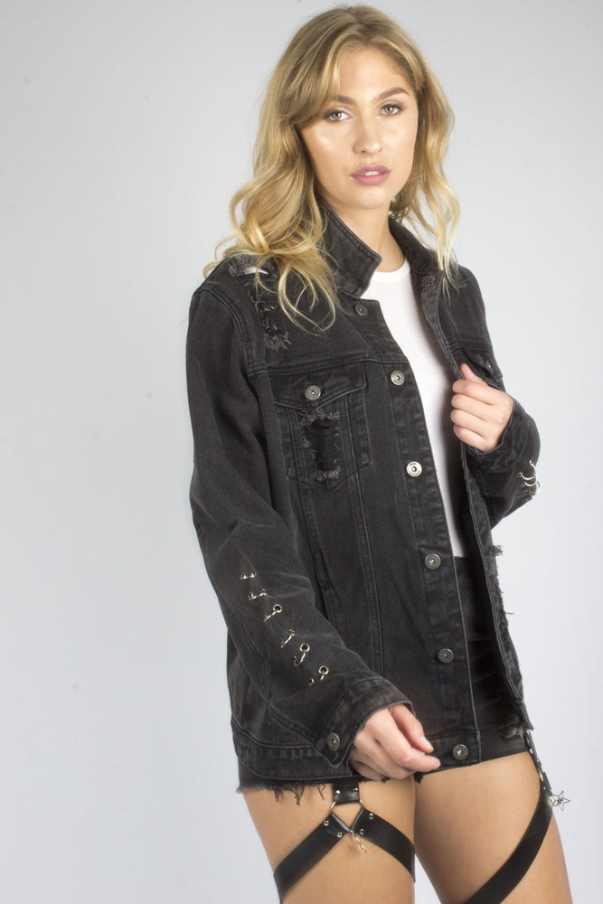 Boyfriend Black Denim Jacket With Eyelet Detail