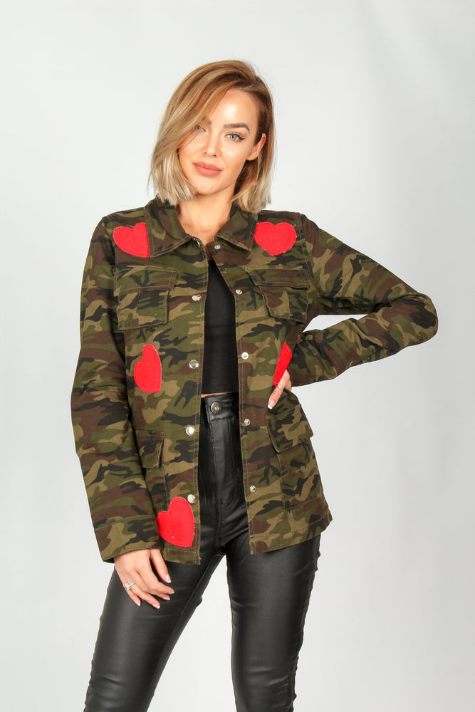 Arizona Camo Jacket With Heart Badges - Liquor N Poker  LIQUOR N POKER