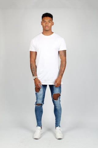 Logan Stretch Skinny Jeans With Double Painted Stripe