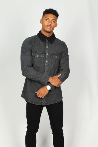 Black Denim Shirt With Borg Collar