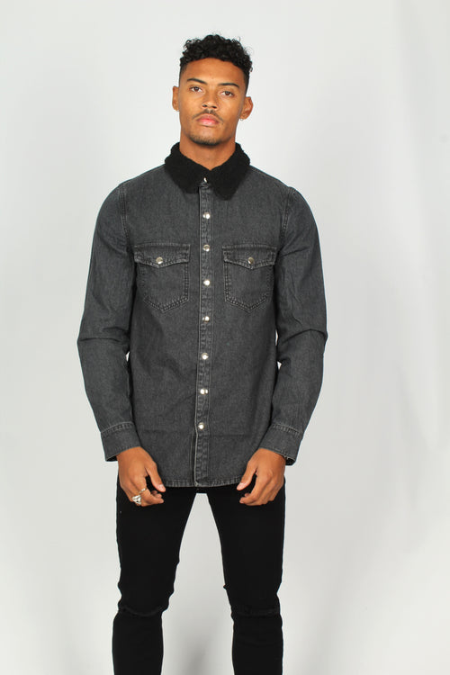 Black Denim Shirt With Borg Collar - Liquor N Poker  Liquor N Poker