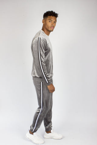 Montana Crushed Velour Tracksuit In Grey