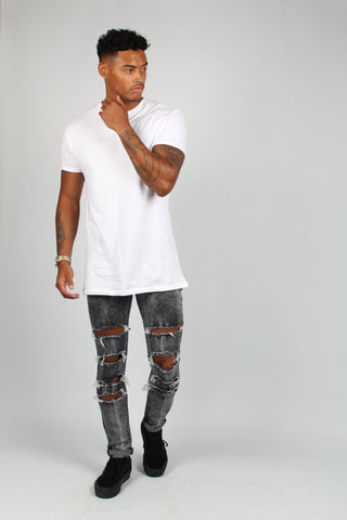 Logan Bleached Grey Washed Skinny Jean