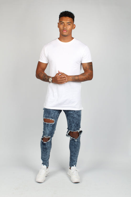 Logan Acid Blue Washed & Open Knee Ripped Skinny Jeans - Liquor N Poker  Liquor N Poker