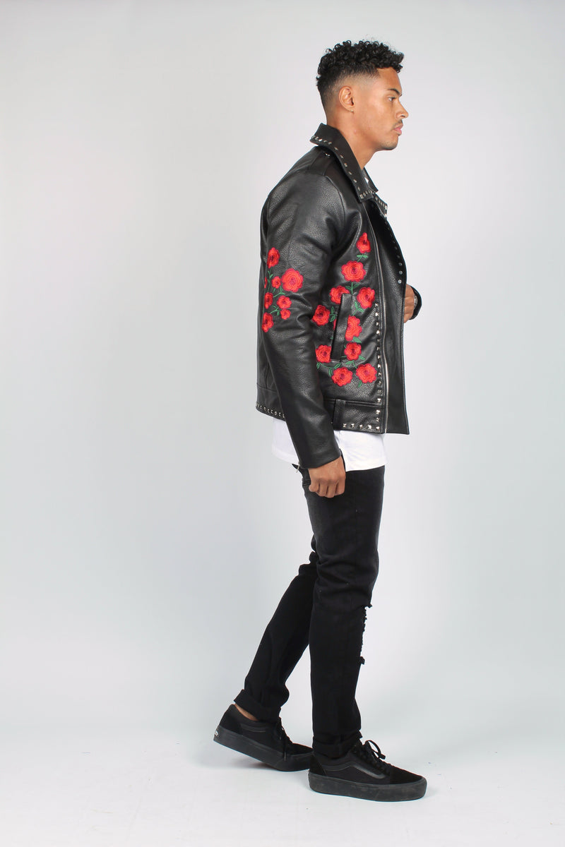 Texas Roses Are Red Embroidered & Studded Leather Jacket