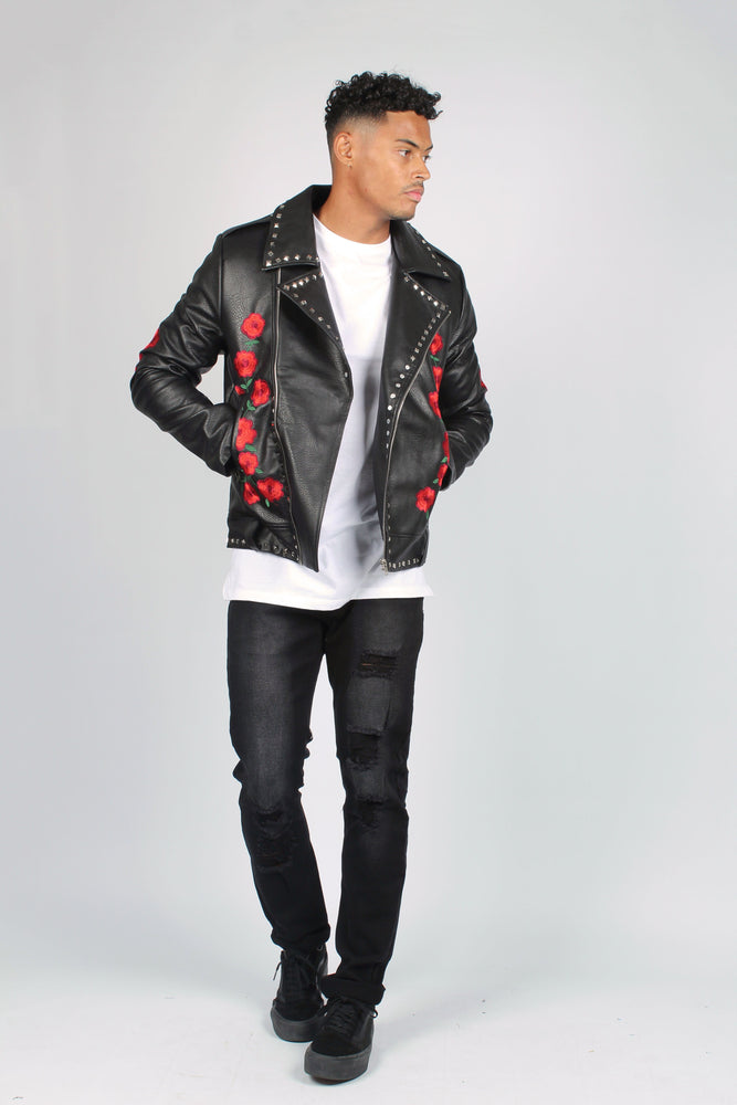 Texas Roses Are Red Embroidered & Studded Leather Jacket - Liquor N Poker  LIQUOR N POKER
