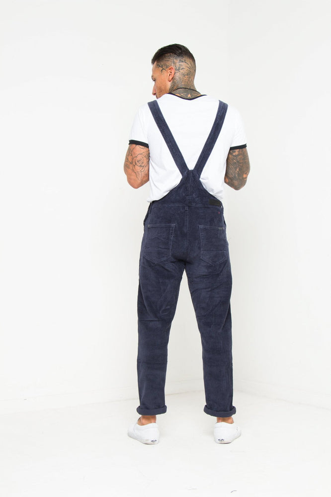 Nevada Navy Corduroy Dungaree In Relaxed Fit