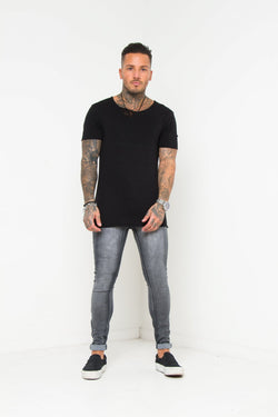 Logan Skinny Stretch Washed Grey Jeans - Liquor N Poker  Liquor N Poker