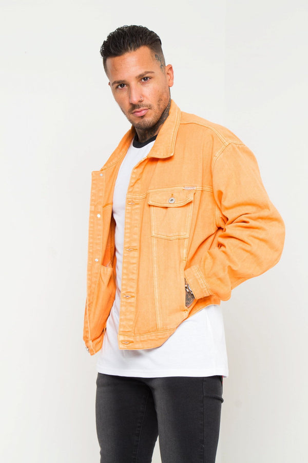 Oversized Orange Denim Jacket