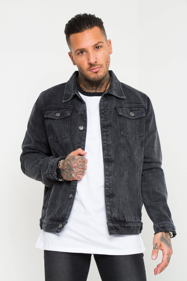 Norton classic slim fit denim jacket in washed black