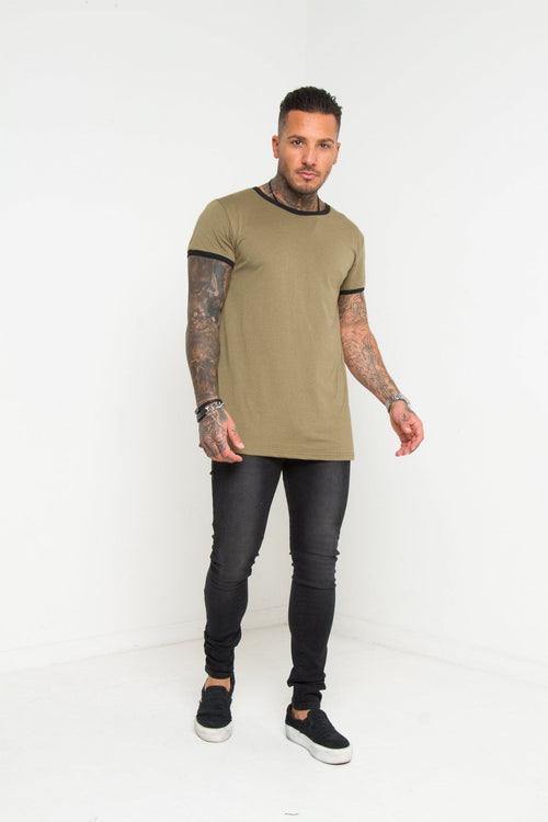 Frisco Khaki Muscle Fit T-shirt - Liquor N Poker  Liquor N Poker