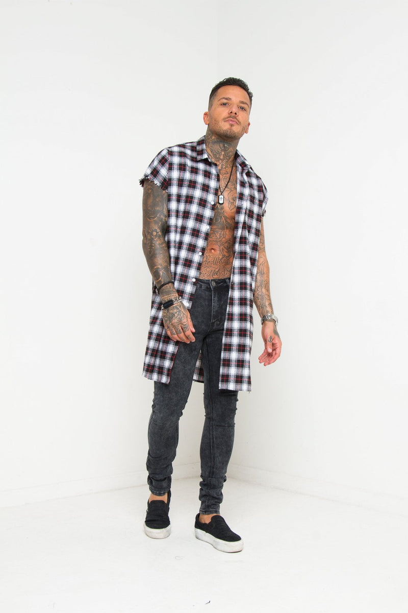 Venice beach oversized cut off shirt in black check
