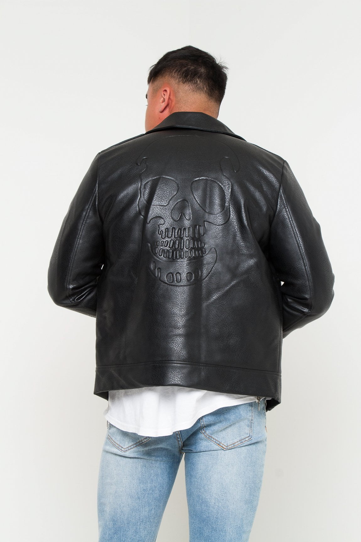 Kansas Faux Leather Jacket with skull embossing - Liquor N Poker  Liquor N Poker