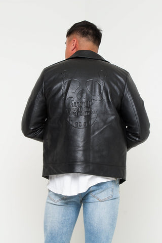 Kansas Faux Leather Jacket with skull embossing