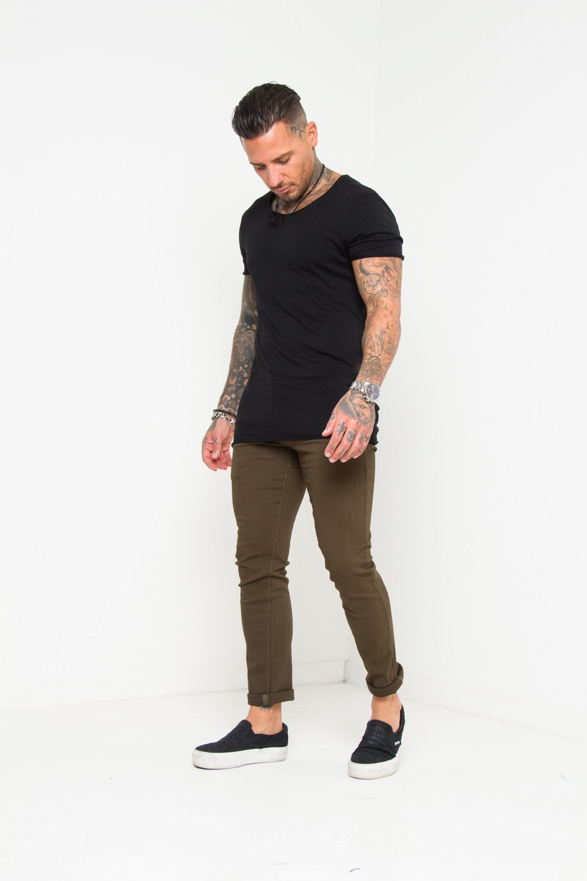 Faro Slim Fit Stretch Chino In Olive Green